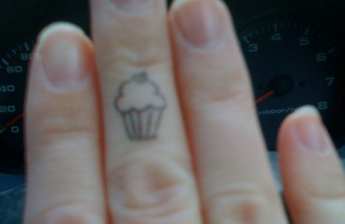 Cupcake Finger Tattoo