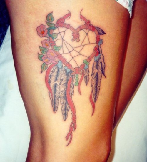 Heart Tattoo Art on Thigh