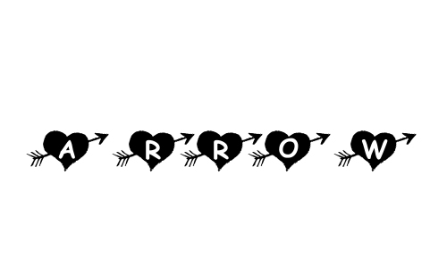 KR Arrow Heart Font