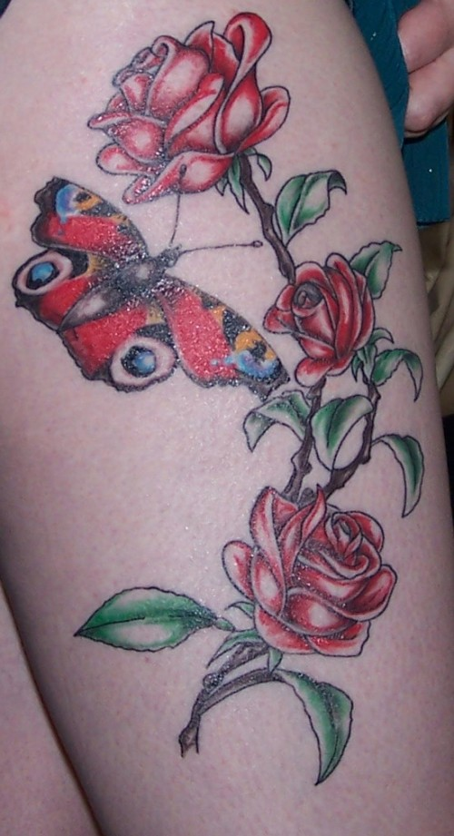 Right Thigh Rose Flower Tattoos