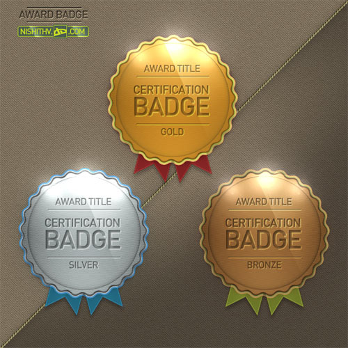 3 Award Badge PSD