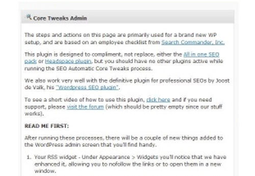 Core Tweaks WordPress Setup