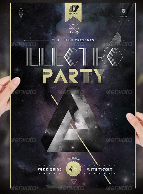 Electro Space Party Flyer Template