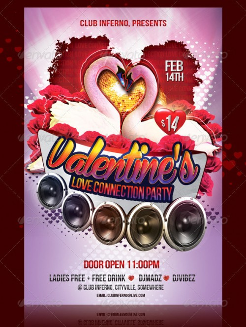 Valentine's Love Connection Party Flyer