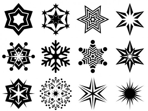 24 Abstract Snowflake Shapes