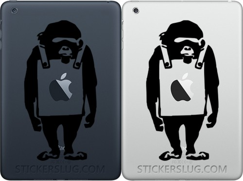 Banksy Monkey Wearing Sign Apple