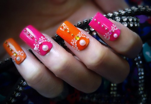 Orange n Hot Pink Nail Art