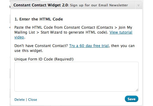 Constant Contact WordPress Widget