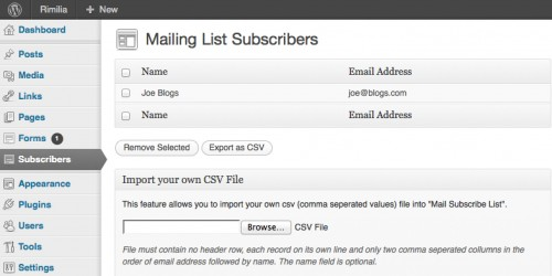 Mail Subscribe List