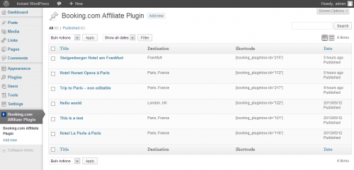Booking.com Affiliate Plugin