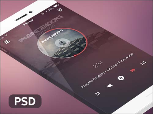 Music Player iOS App Free PSD