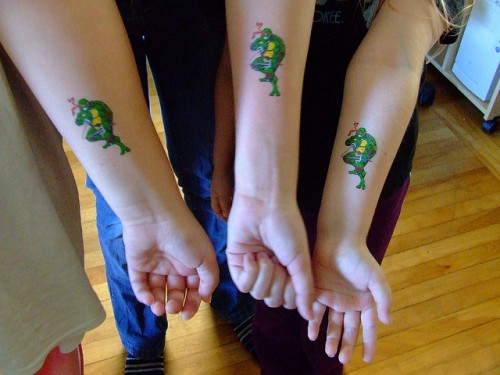 Matching Fake Ninja Turtle Tattoos