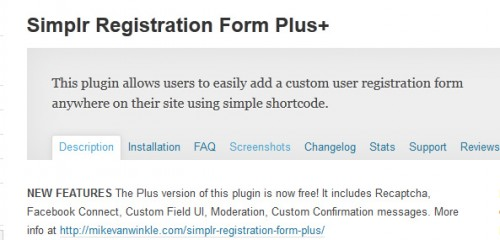 Simplr Registration Form Plus+