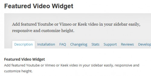 Featured Video Widget