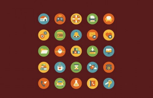 25 Great Free Flat Vintage Icons
