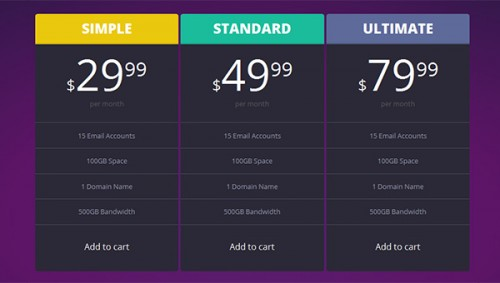 Dark Pricing Tables